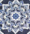 Luxe Fleece Fabric-Navy Medallions