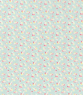 Easter Cotton Fabric-Spring Pastels Mini Floral Green