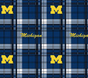 "University of Michigan Wolverines Fleece Fabric 58""-Plaid, , hi-res"