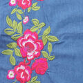 Sportswear Denim Fabric-Pink Embroidered Floral
