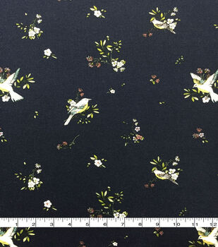 Rayon & Spandex Printed Knit Fabric-Birds & Floral on Navy