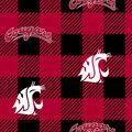 Washington State Cougars Fleece Fabric-Buffalo Plaid