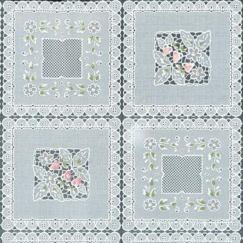 "Tablecloth Vinyl 54""-Squares Floral White"