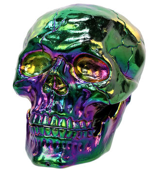 Maker's Halloween Large Movable Jaw Skull Table Decor-Oil Slick