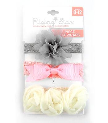 3 Pc Headband- Gray Pink Cream