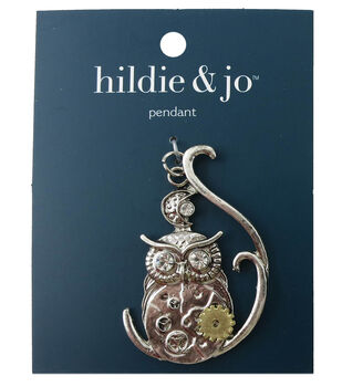 hildie & jo Gear Owl Pendant-Silver