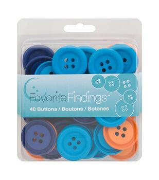 Favorite Findings 40 Big Buttons-Matte Bold Orange Blue Teal