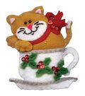 Design Works Christmas 3\u0027\u0027x4\u0027\u0027 Teacup Cat Ornament Felt Craft Kit