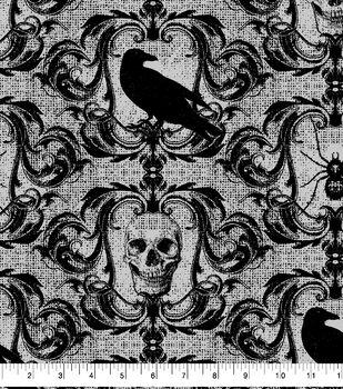 Halloween Cotton Fabric-Spooky Skulls & Scrolls