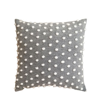 Simply Autumn 18''x18'' Gray Pillow with Textured Dots