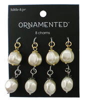 hildie & jo Ornamented 8 Pack Silver & Gold Charms-Pearl, , hi-res