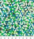 Premium Wide Cotton Fabric 108\u0022-Watercolor Triangles Blue Green
