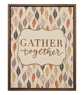 Simply Autumn 11''x14'' Wood Framed Canvas Sign-Gather Together