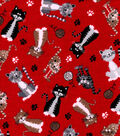Snuggle Flannel Fabric-Fuzzy Kitty On Red