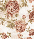 Premium Wide Cotton Fabric 108\u0022-Large Floral Brown