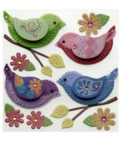 Stitched Colorful Birds, , hi-res