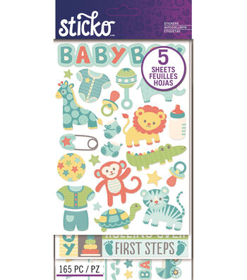Sticko 165 Pack Flip Stickers-Baby Boy