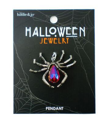 hildie & jo Halloween Spider Silver Pendant-Crystals