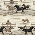 Fleece No Sew Throw-Horses & Fences