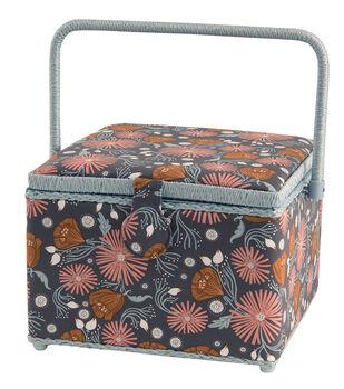 Large Square Sewing Basket-Brown Floral