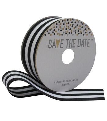 Save the Date 1.5'' X 15' Ribbon Black/White Stripe