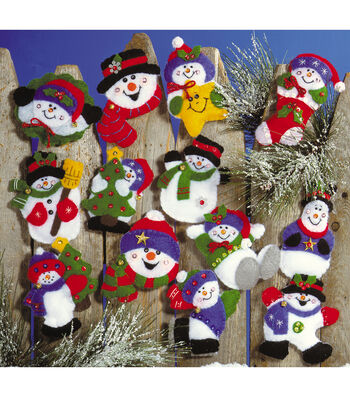"Lots Of Fun Snowmen Ornaments Felt Applique Kit 3""X4"" Set Of 13"