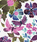 Silky Prints Rayon Fabric-Dragonfly Floral Multi