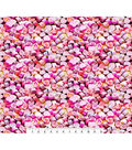 Valentine\u0027s Day Cotton Fabric-Photoreal Pink Candy Hearts