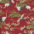 Premium Cotton Fabric-Asian Cranes Metallic