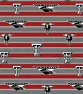 Texas Tech University Red Raiders Fleece Fabric -Polo Stripe