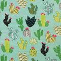 Anti-Pill Plush Fleece-Cacti on Blue