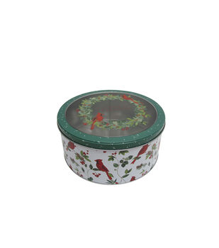 Handmade Holiday Christmas Large Round Cookie Tin with Clear Top-Wreath