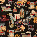 Novelty Cotton Fabric-Route 66 On Black