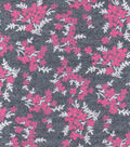 Luxe Flannel Fabric -Pink Vines Gray Heather
