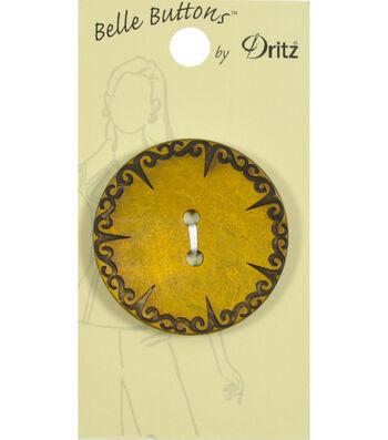 Dritz 40mm Belle Button Natural Coconut Gold Etched