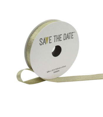 """Save the Date 5/8"""" x 15ft Ribbon-Champagne Metallic"""