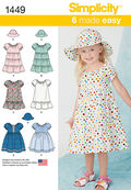 Simplicity Pattern 1449AA 1/2-1-2 -Toddlers Dresses
