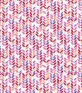 Premium Cotton Print Fabric 43\u0027\u0027-Pink Striped Geos on Pearl