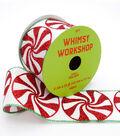 Maker\u0027s Holiday Christmas Ribbon 2.5\u0027\u0027x25\u0027-Glitter Peppermints on White