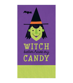 Maker's Halloween 16 pk 7.75'' Guest Napkins-Witch Better Have My Candy