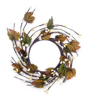 Blooming Autumn Pepper Berry & Maple Leaf Mini Wreath-Multi