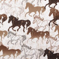 Anti-Pill Plush Fleece Fabric-Sketched Horses