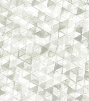 Premium Wide Cotton Fabric-White Watercolor Triangles