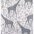 No Sew Fleece Throw-Giraffe Black & White