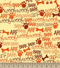 Bark Arf Woof Print Fabric