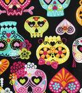 Novelty Cotton Fabric-Skull On Black A/O