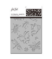 Fab Lab 3 pk 7''x10'' Stencil Sheets-Bugs, Leaves & Flowers, , hi-res
