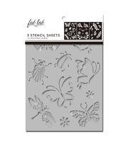 Fab Lab 3 pk 7''x10'' Stencil Sheets-Bugs, Leaves & Flowers, , hi-res