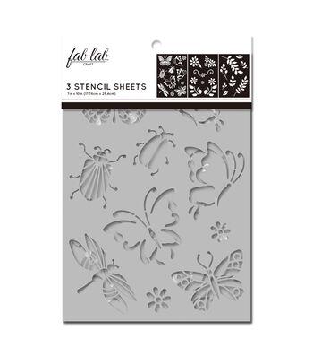 Fab Lab 3 pk 7''x10'' Stencil Sheets-Bugs, Leaves & Flowers