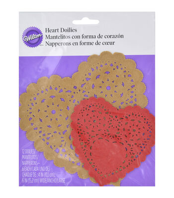 Wilton Assorted Heart Doilies 12/Pkg-Red And Kraft